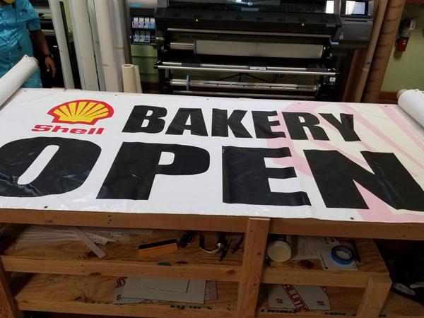 Custom vinyl banner for Bakery in Miami, FL