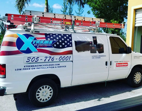 Advertising vehicle wraps for Xtreme Air Conditioning in Miami, FL